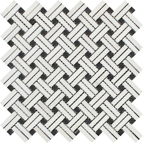 Thassos White Honed Marble Stanza Mosaic Tile w/ Black Dots