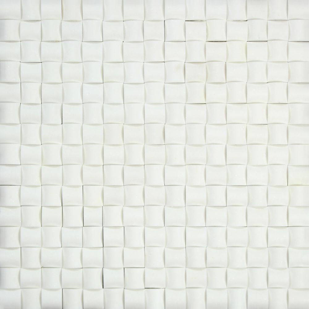 Thassos White Polished Marble 3-D Small Bread Mosaic Tile Sample - Tilephile