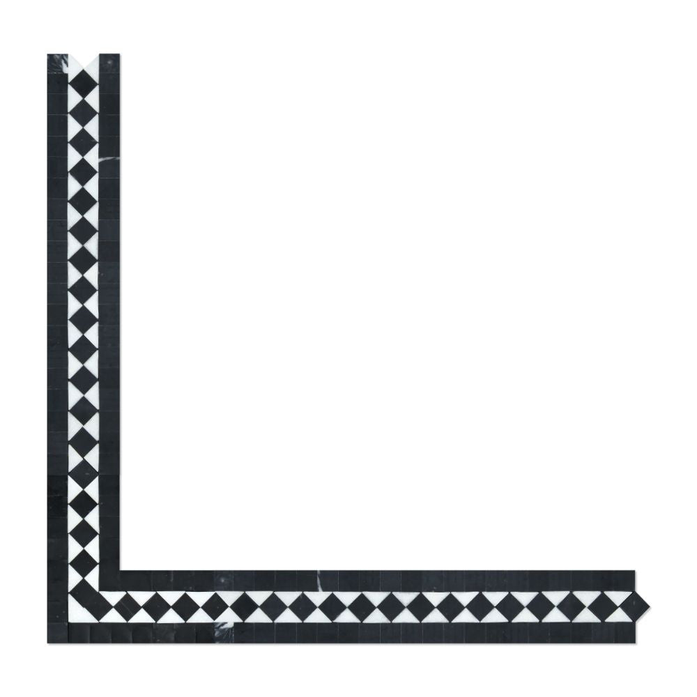 2 x 12 Polished Thassos White Marble BIAS Border w/ Black Dots - Tilephile