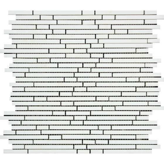 Thassos White Polished Marble Bamboo Sticks  Mosaic Tile - Tilephile