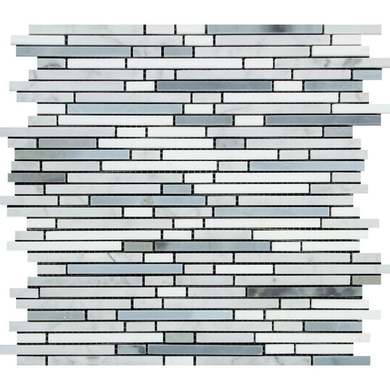 Thassos White Polished Marble Bamboo Sticks  Mosaic Tile (Thassos + Carrara + Blue-Gray) - Tilephile