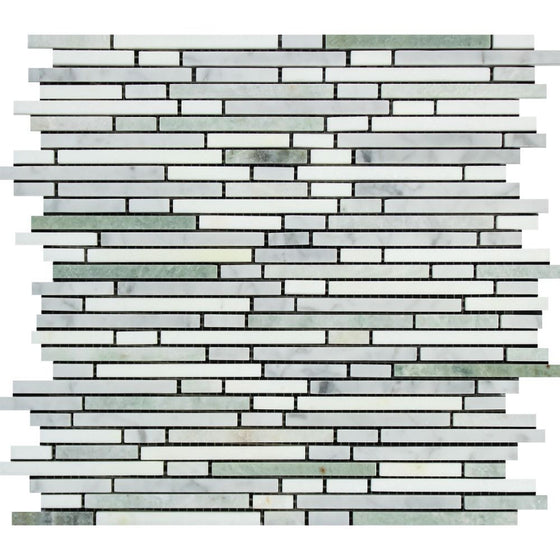 Thassos White Polished Marble Bamboo Sticks  Mosaic Tile (Thassos + Carrara + Ming Green) - Tilephile