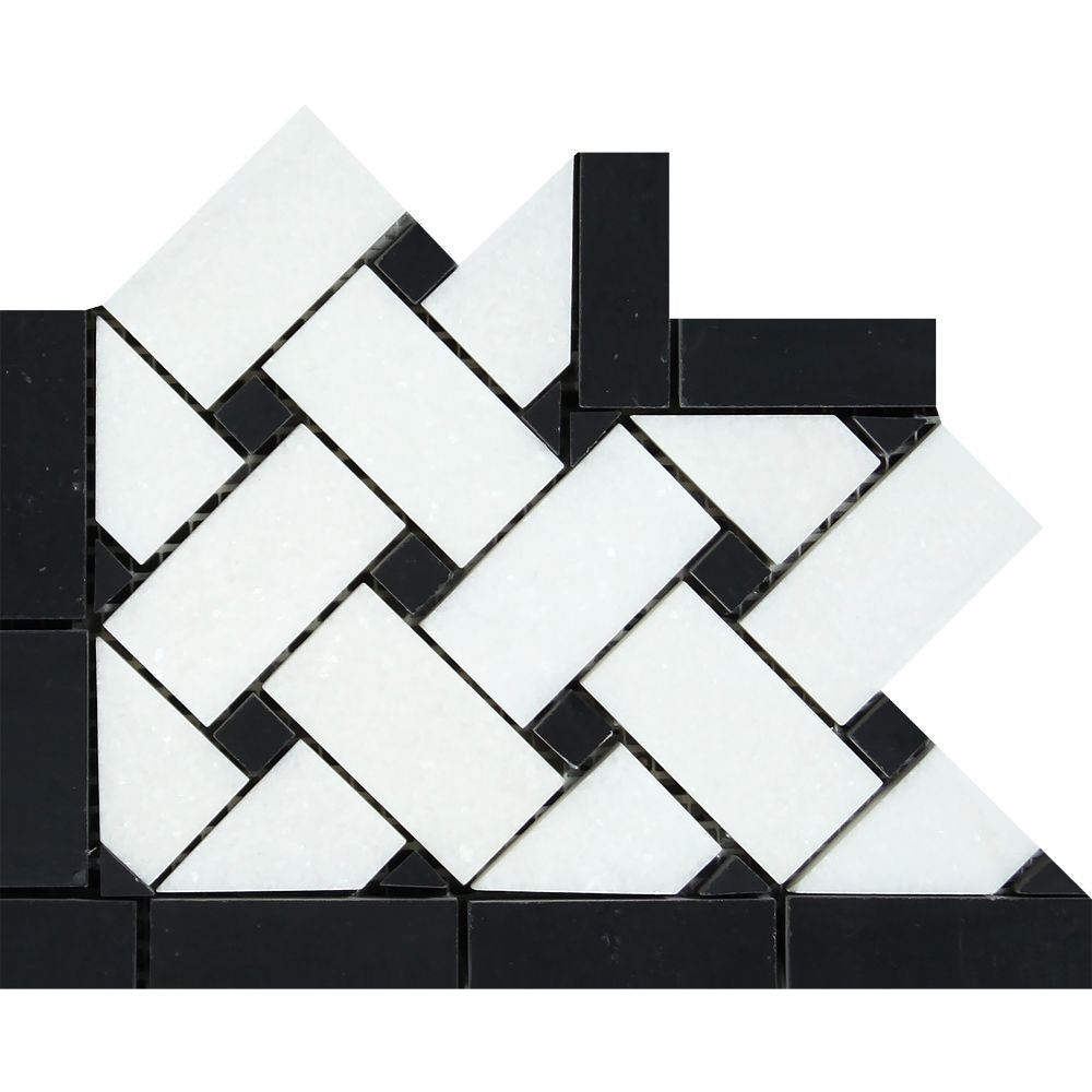 Thassos White Polished Marble Basketweave Corner w/ Black Dots Sample - Tilephile