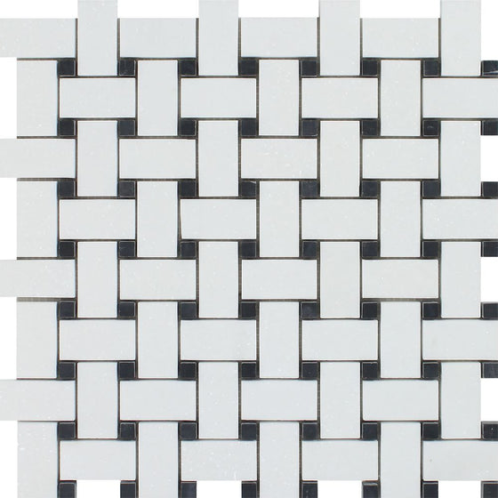 Thassos White Polished Marble Basketweave Mosaic Tile w/ Black Dots - Tilephile