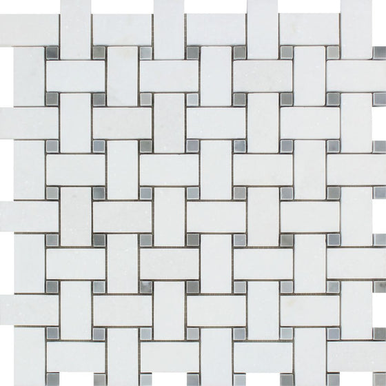 Thassos White Polished Marble Basketweave Mosaic Tile w/ Blue-Gray Dots - Tilephile