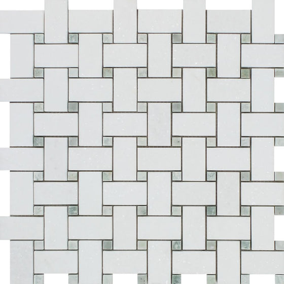 Thassos White Polished Marble Basketweave Mosaic Tile w/ Ming Green Dots - Tilephile
