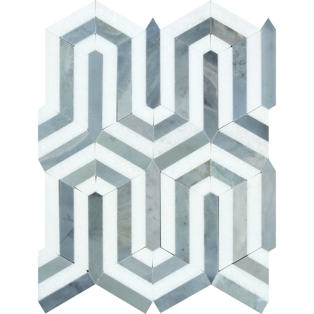 Thassos White Polished Marble Berlinetta Mosaic Tile (Thassos w/ Blue-Gray) Sample - Tilephile