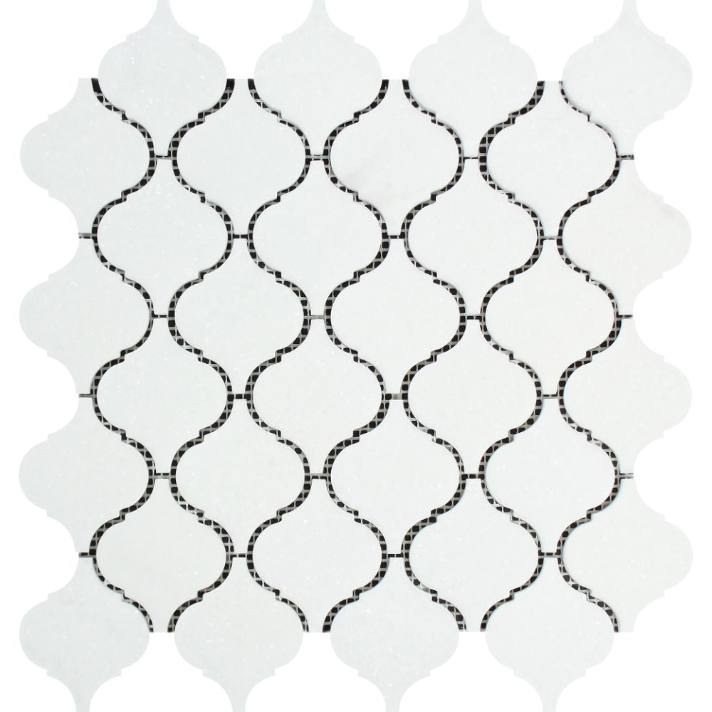 Thassos White Polished Marble Lantern Mosaic Tile Sample - Tilephile