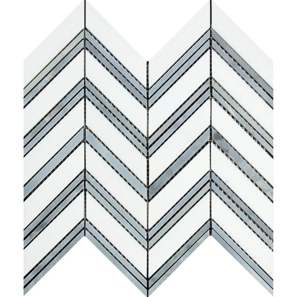 Thassos White Polished Marble Large Chevron Mosaic Tile (Thassos + Blue-Gray (Thin Strips)) Sample - Tilephile