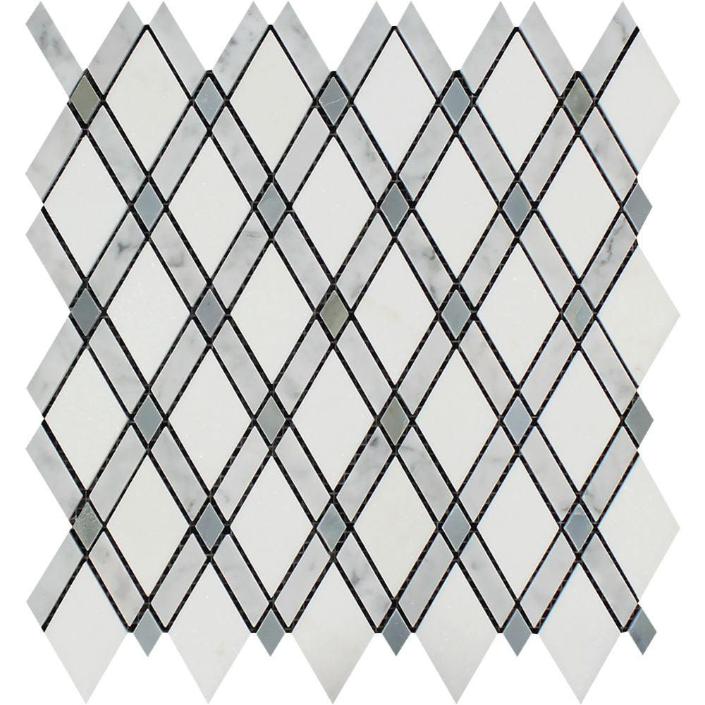 Thassos White Polished Marble Lattice Mosaic Tile (Thassos + Carrara + Blue-Gray) Sample - Tilephile