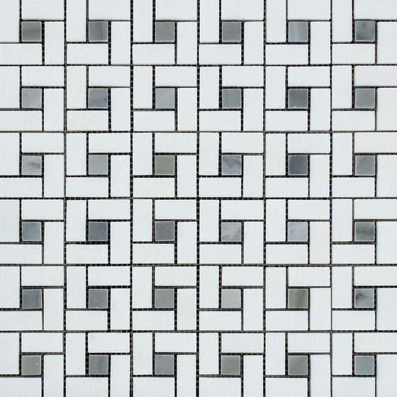 Thassos White Polished Marble Mini Pinwheel Mosaic Tile w/ Blue-Gray Dots
