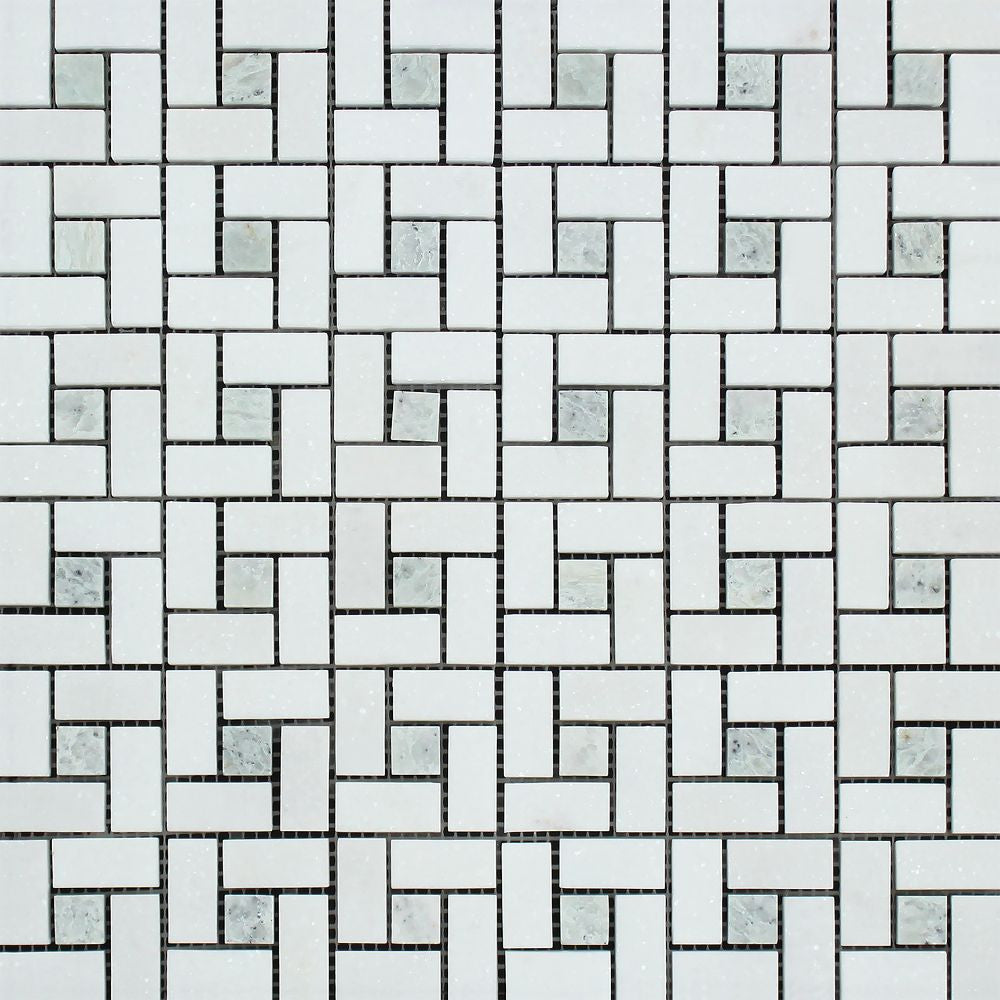 Thassos White Polished Marble Mini Pinwheel Mosaic Tile w/ Ming Green Dots Sample - Tilephile