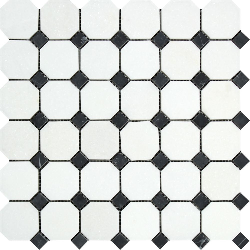 Thassos White Polished Marble Octagon Mosaic Tile w/ Black Dots Sample - Tilephile