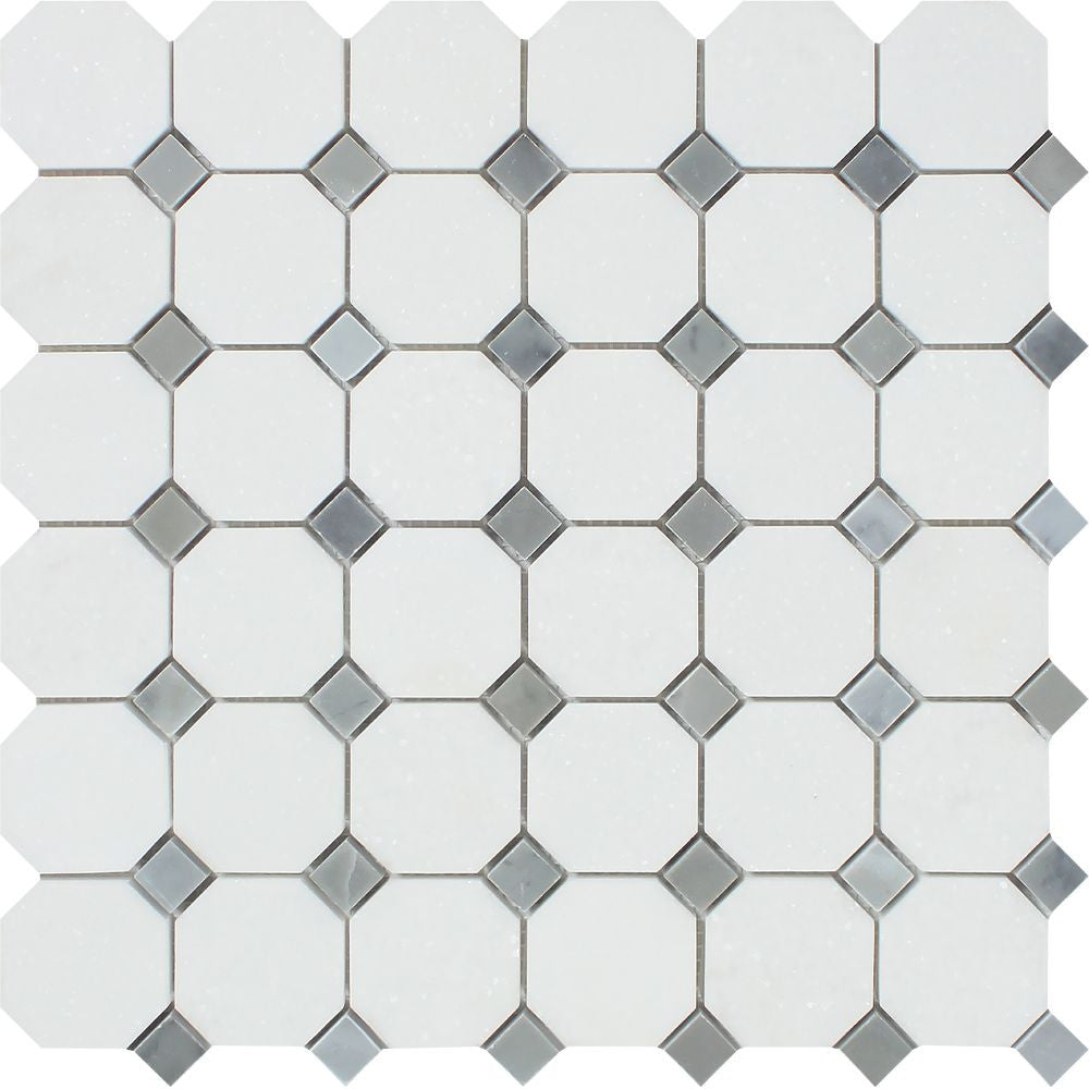 Thassos White Polished Marble Octagon Mosaic Tile w/ Blue-Gray Dots Sample - Tilephile