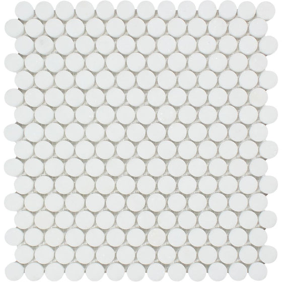 Thassos White Honed Marble Penny Round Mosaic Tile - Tilephile
