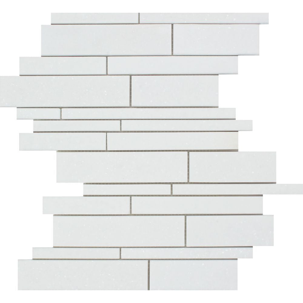Thassos White Polished Marble Random Strip Mosaic Tile Sample - Tilephile