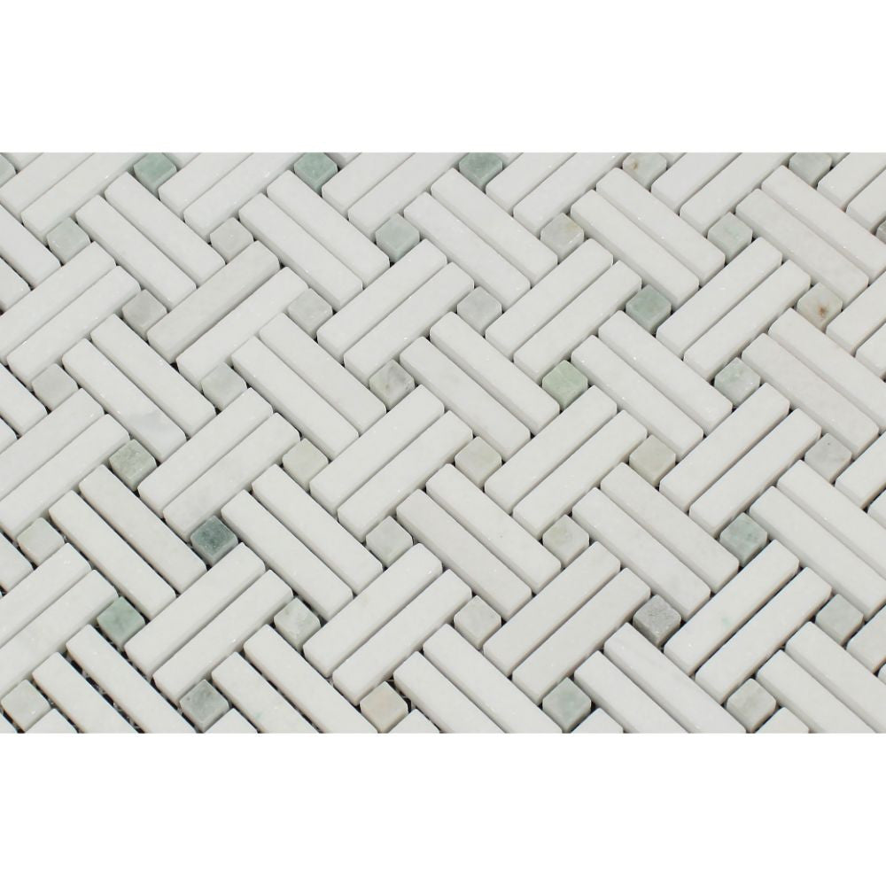 Thassos White Polished Marble Stanza Mosaic Tile w/ Ming Green Dots - Tilephile