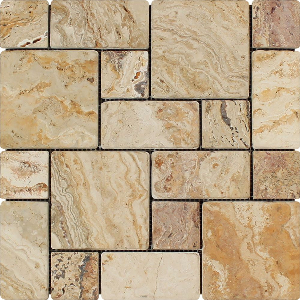 Valencia Tumbled Travertine Mini Pattern Mosaic Tile (Non-Interlocking) Sample - Tilephile