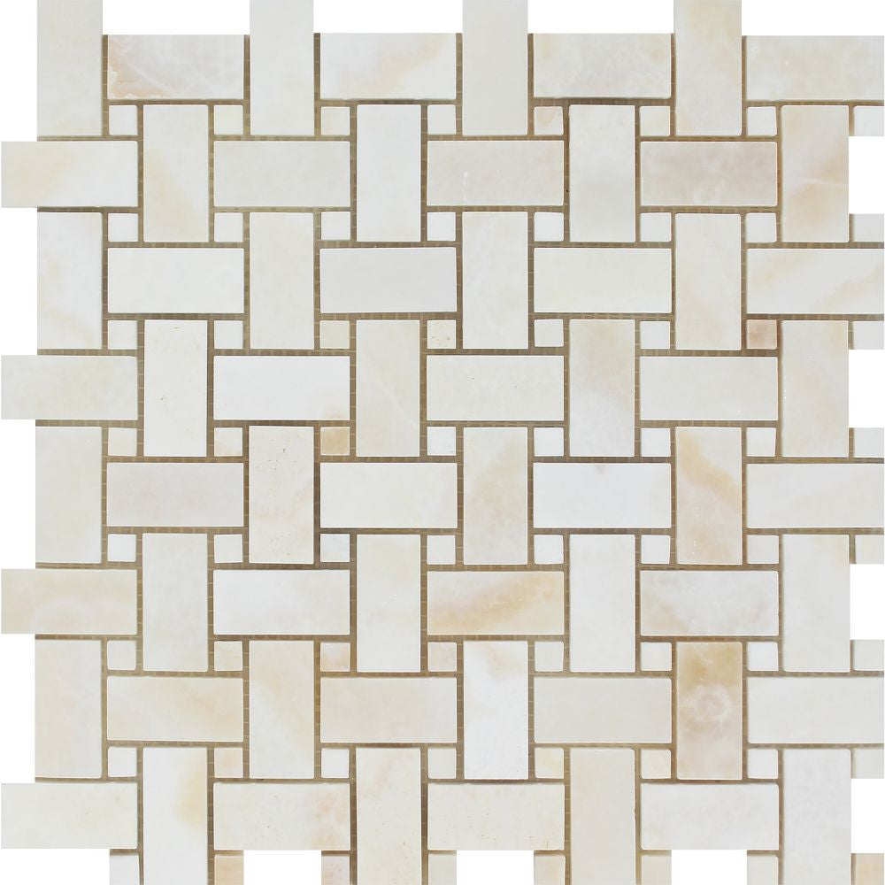 White Onyx Polished Basketweave Mosaic Tile w/ White Onyx Dots - (Cross-Cut) Sample - Tilephile