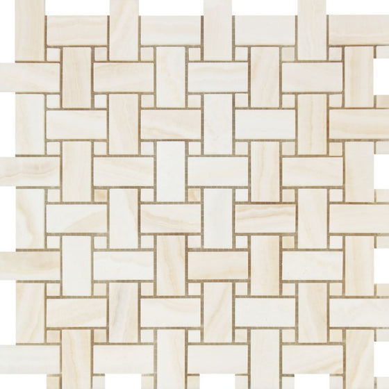 White Onyx Polished Basketweave Mosaic Tile w/ White Onyx Dots - (Vein-Cut) - Tilephile
