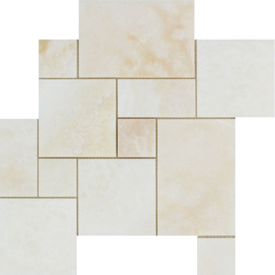 White Onyx Polished OPUS Mini Pattern Mosaic Tile - (Cross-Cut ) - Tilephile