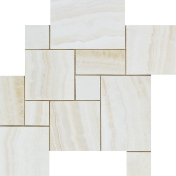 White Onyx Polished OPUS Mini Pattern Mosaic Tile - (Vein-Cut) - Tilephile