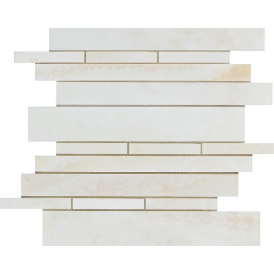 White Onyx Polished Random-Strip Mosaic Tile - (Cross-Cut) - Tilephile
