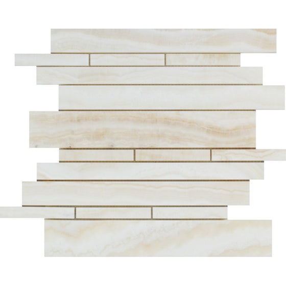 White Onyx Polished Random-Strip Mosaic Tile - (Vein-Cut) - Tilephile