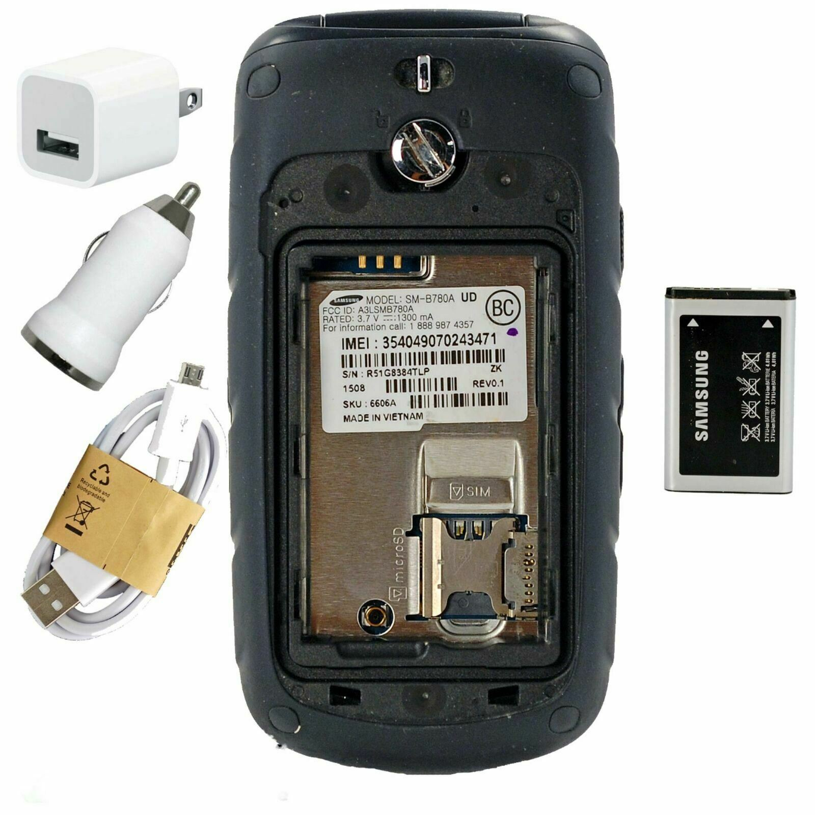 Samsung Rugby 4 SM-B780 Black (AT&T) CelL Phone - 3G High Speed GSM