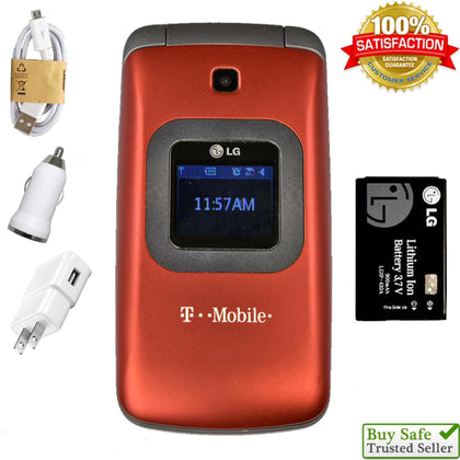 LG GS170 (T-Mobile) Flip Phone - GSM 2G Edge Speeds - Bluetooth, Red