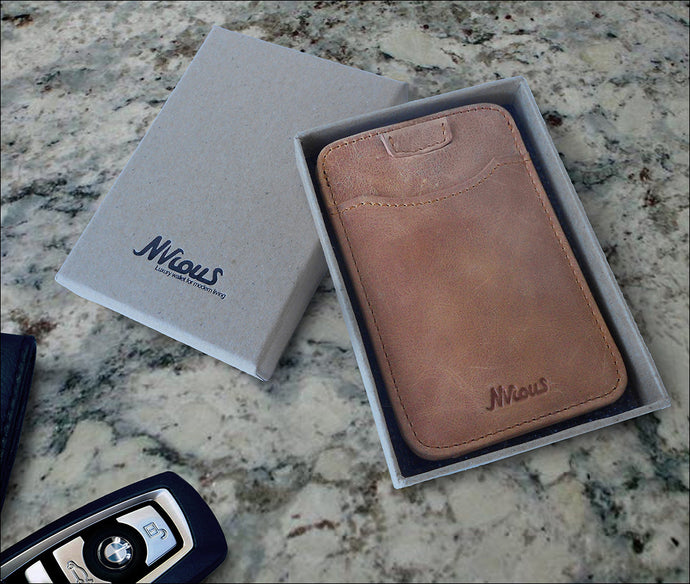 Front Pocket Wallet Minimalist Leather Card Holder (Walnut/Tan)