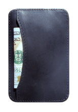 Front Pocket Wallet Minimalist Leather Card Holder (Obsidian/Black)