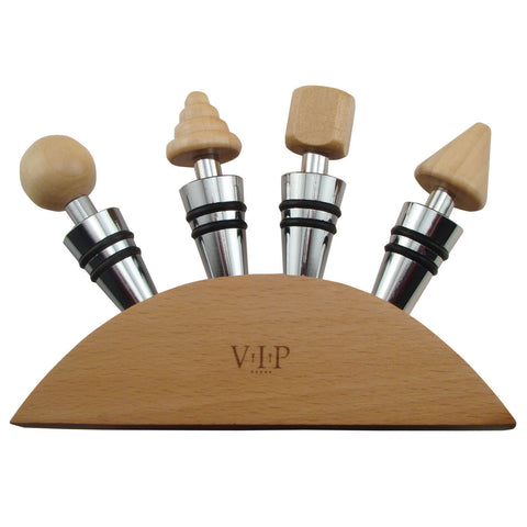 Wine Stopper Gift Set of 4 Wood Stoppers and Wood Base in Gift Box