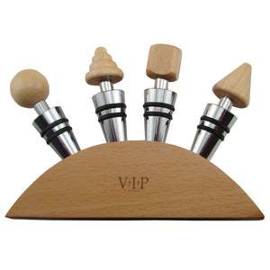 Wine Stopper Gift Set of 4 Wood Stoppers and Wood Base in Gift Box - Cigar boulevard