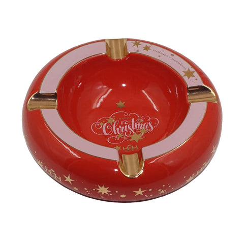 Ashtrays MERRY CHRISTMAS Red Porcelain with Golden Grooves