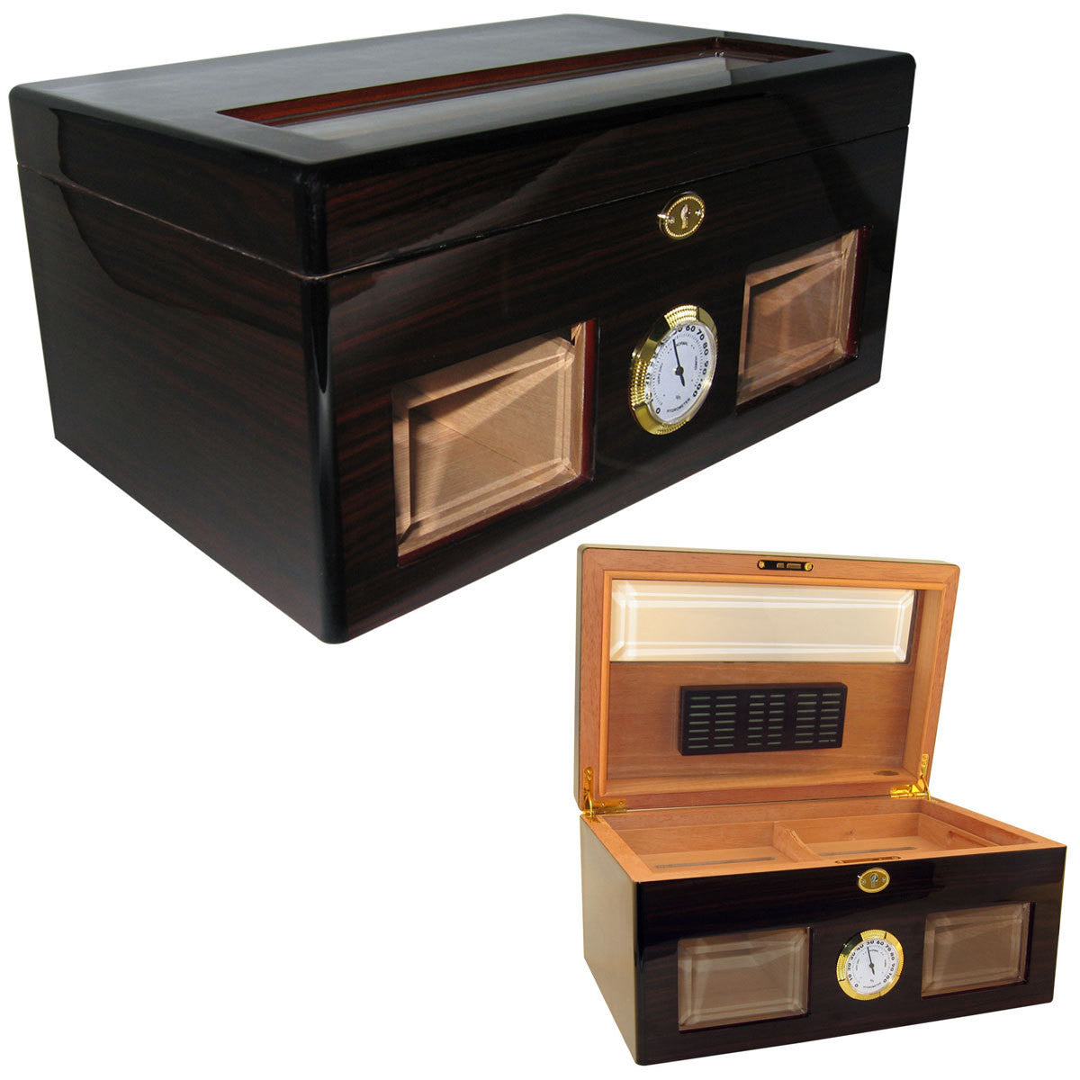 Bravo Negro Glass Top Cigar Humidor for 120 Cigars - Cigar boulevard
