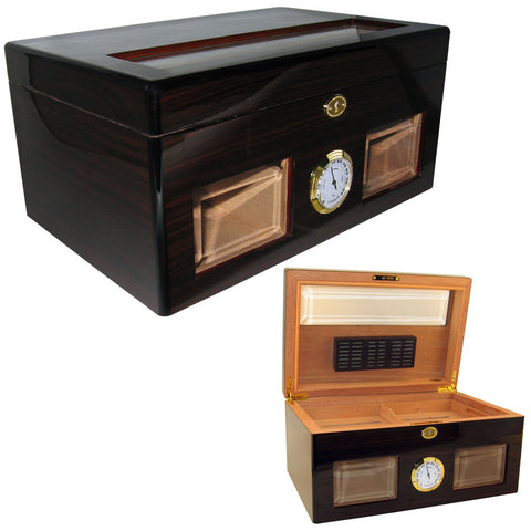 Cuban Crafters Bravo Negro Cigar Glass Top Humidor for 120 Cigars - Cigar boulevard