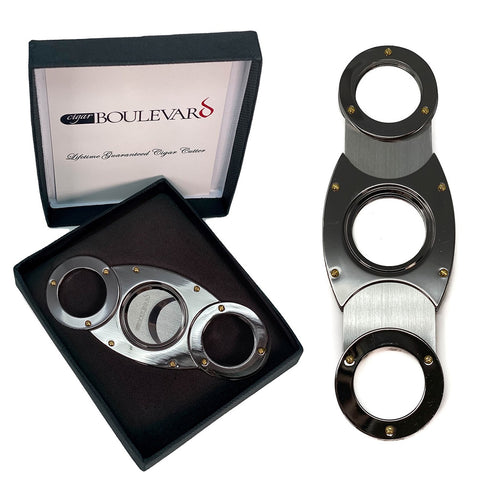 Image of Cigar Boulevard Cigar Cutter Gun Metal Double Stainless Steel Blades O Round Handles