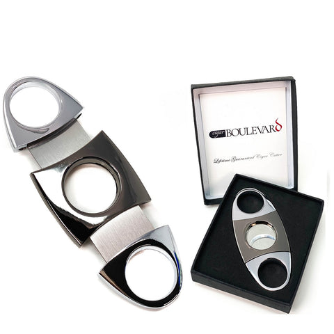 Cigar Boulevard Cigar Cutter Silver and Gun Metal Double Stainless Steel Blades U Handles