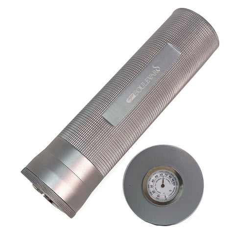 Image of Cigar Boulevard Cigar Travel Humidor Aluminium Tube with Hygrometer and Humidifier 7 Cigar Capacity