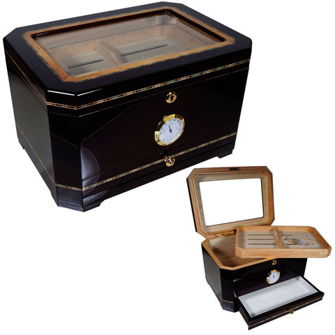 Image of Cuban Crafters El Mirador Glass Humidor for 100 Cigars - Cigar boulevard