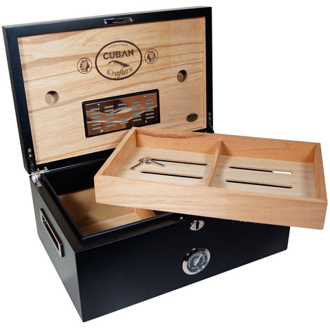 Image of Black Murcielago Large Cigar Humidor for 150 Cigars - Cigar boulevard