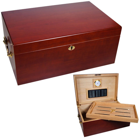 Cabinet Perfecto Cherry Wood Large Humidor for 120 Counts - Cigar boulevard