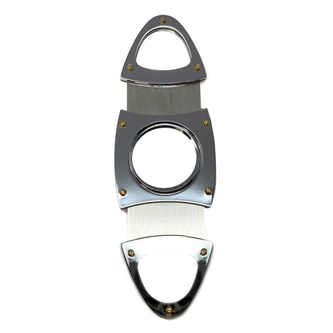 Cigar Boulevard Cigar Cutter Silver Double Stainless Steel Blades V Handles