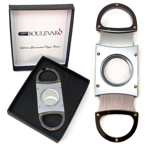 Image of Cigar Boulevard Cigar Cutter SILVER DELUXE Double Stainless Steel Blades Gun Metal Handles