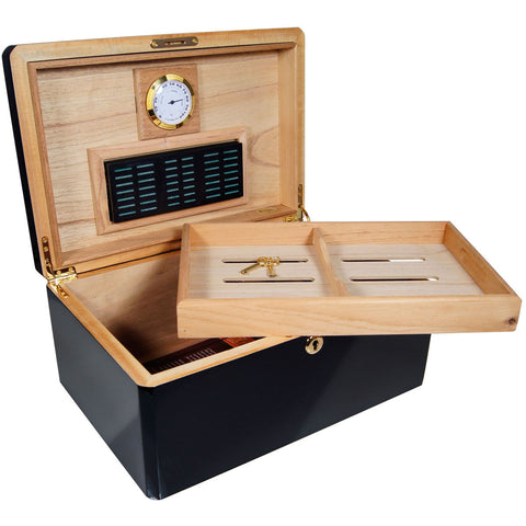 Image of Ebony Humidor Cuban Crafters Colores Negro Humidors for 100 Cigars - Cigar boulevard