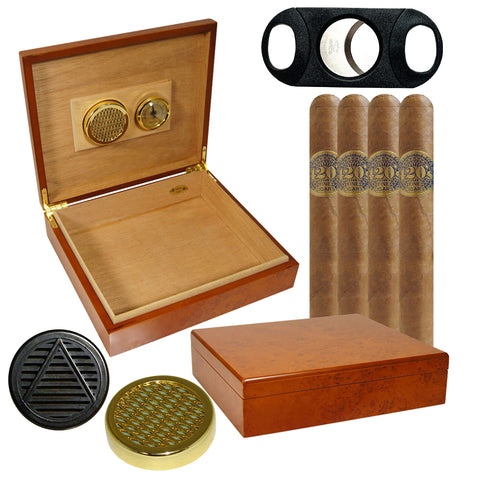 Image of (4 420s Double Legit Edition Cigars, 25 Cigar Humidor El Mio Burl, 2 Humidifiers, Cutter) - Cigar boulevard