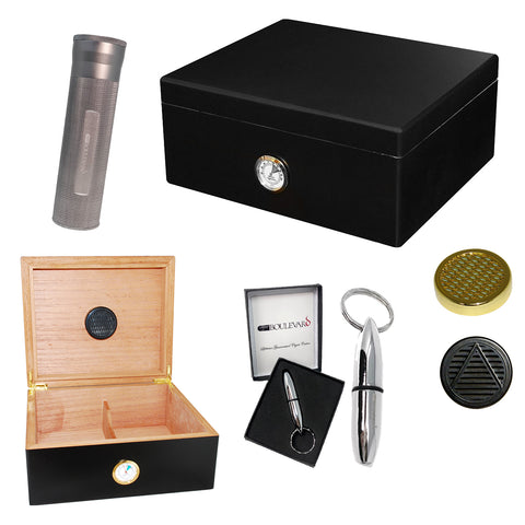 Image of Combo BOULEVARD DELUXE BLACK (40 Cigar Humidor, Travel Tube & Punch Cigar Cutter)