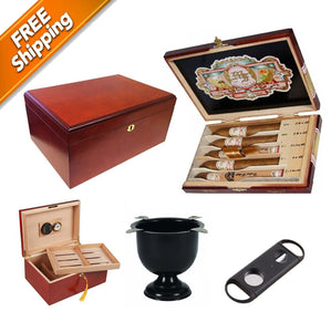 "Combo ""MY FATHER-1"" Humidor, My father Sampler, Ashtray and Cutter"