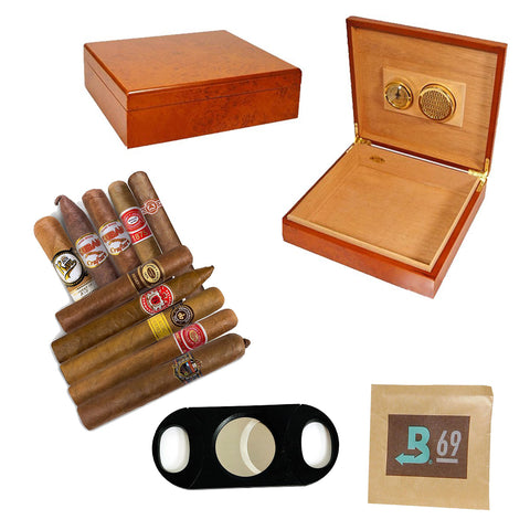 COMBO ELITE, 25 Cigar Humidor, 10 Elite Cigars, Cutter and a Boveda
